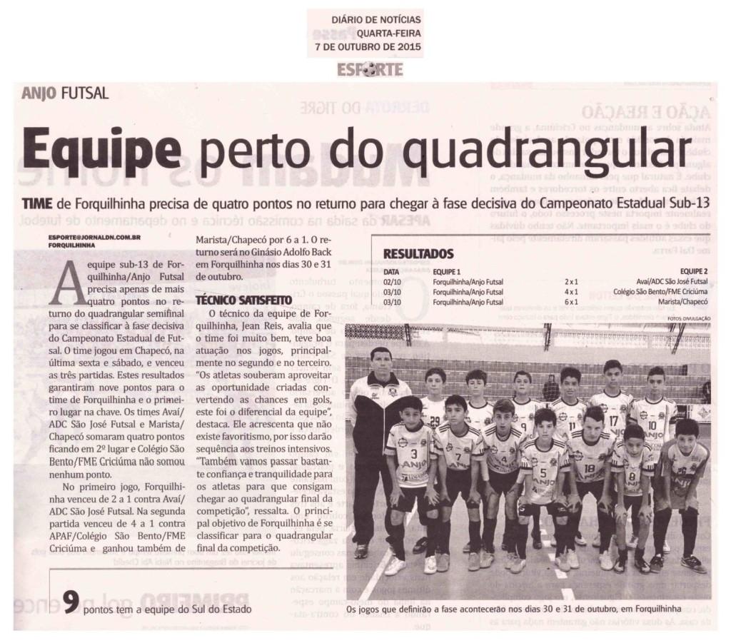 Anjos do Futsal no Jornal Diário de Notícias - 07/10/2015