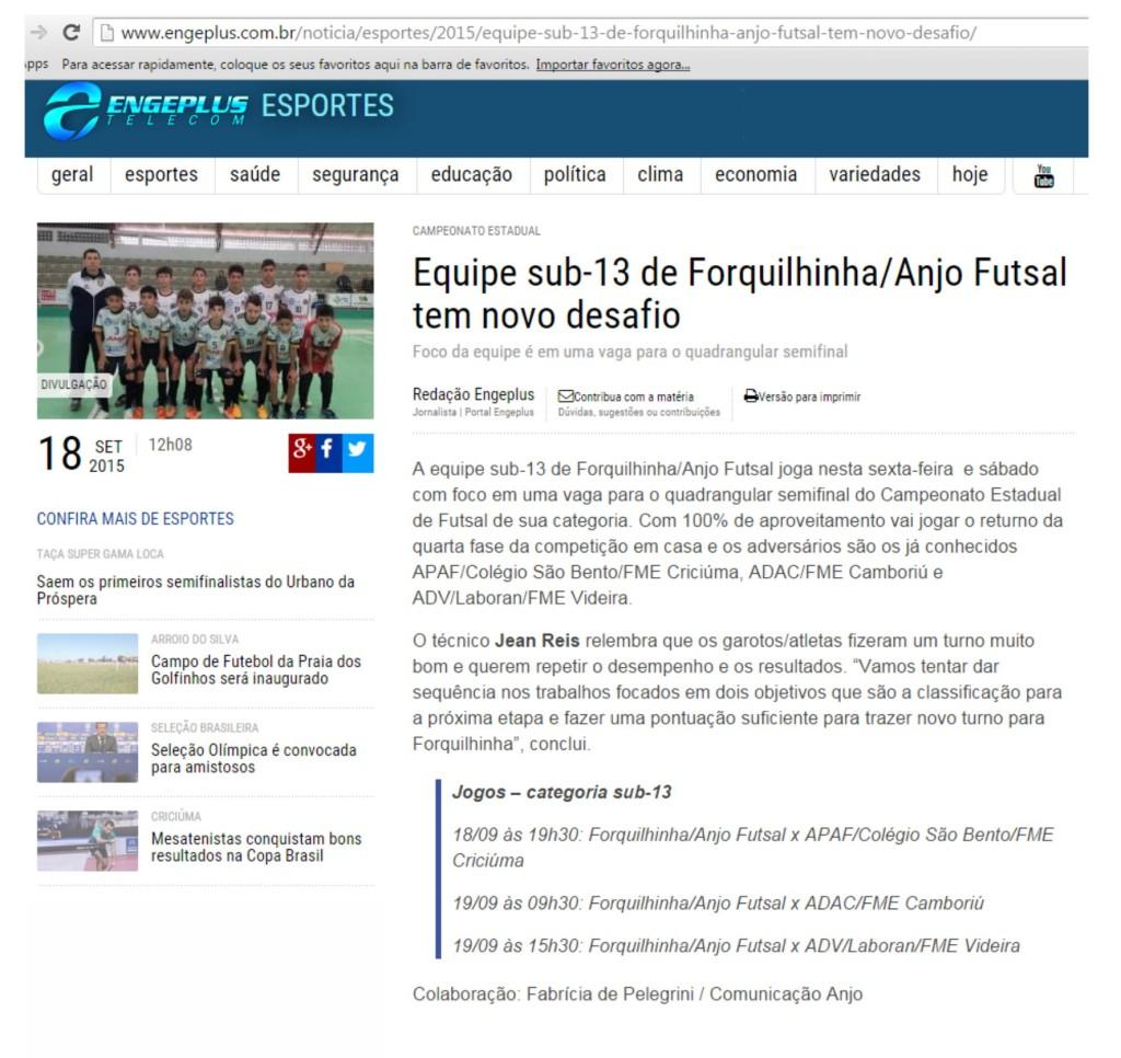 Anjos do Futsal no Portal Engeplus - 18/09/2015