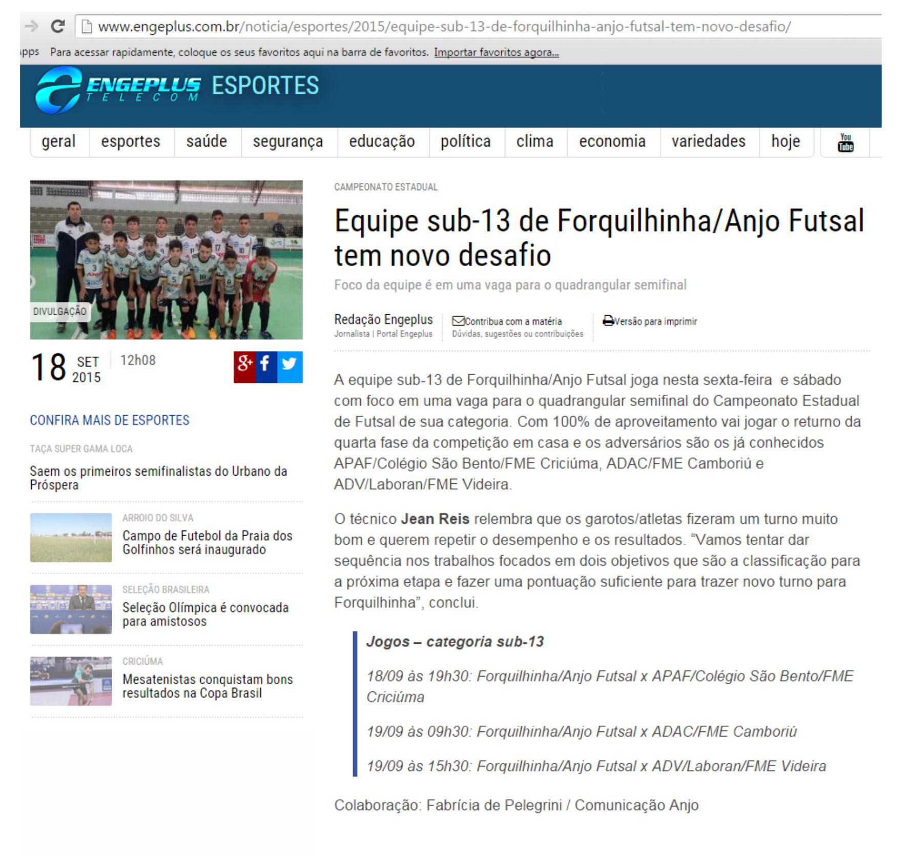 8bcf731993 Anjos do Futsal na Imprensa - 18 09 2015 a 28 09 2015 - Anjos do ...