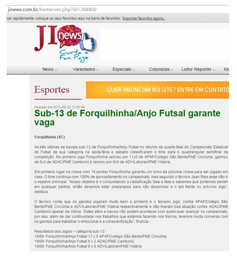 Anjos do Futsal no Portal JI News - 22/09/2015