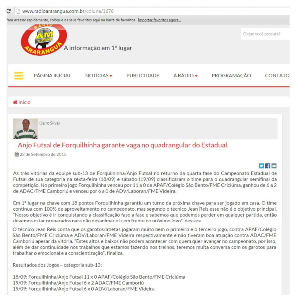 Anjos do Futsal no Portal Rádio Araranguá - 22/09/2015