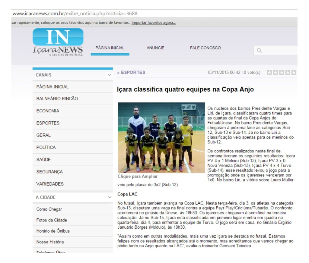 Anjos do Futsal no Portal Içara News - 03/11/2015