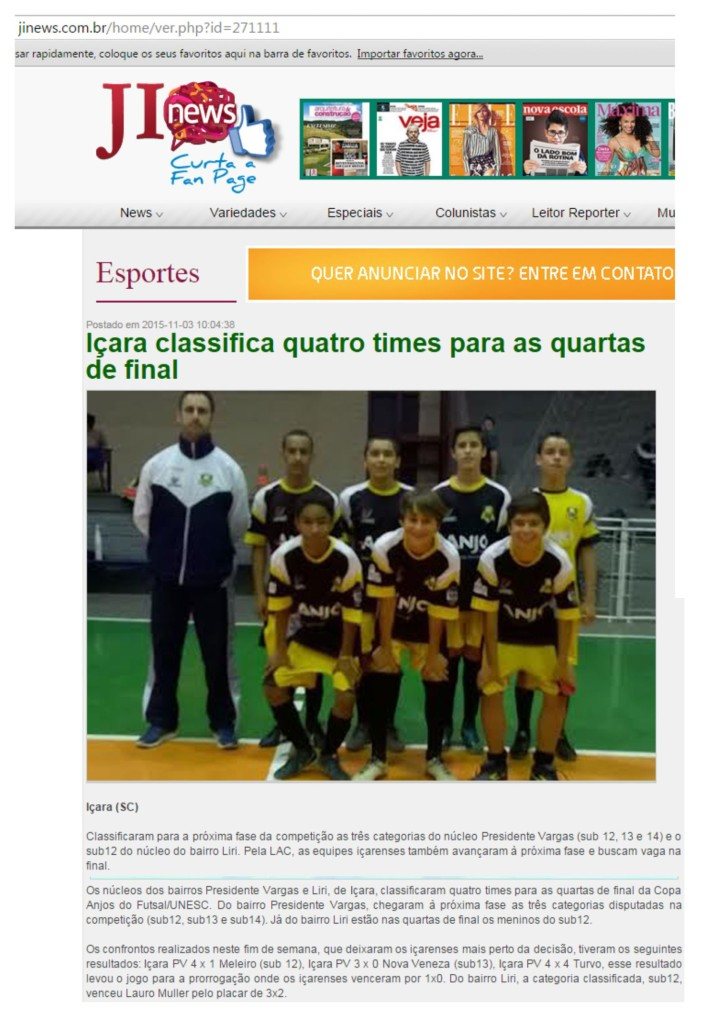 Anjos do Futsal no Portal JI News - 03/11/2015
