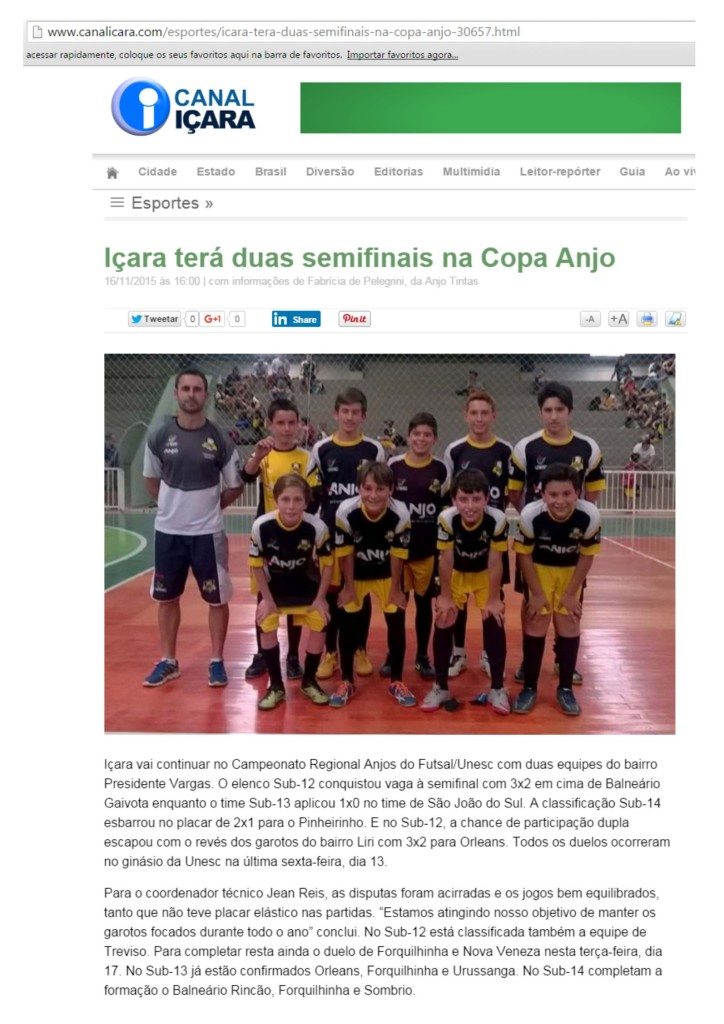 Anjos do Futsal no Canal Içara - 16/11/2015
