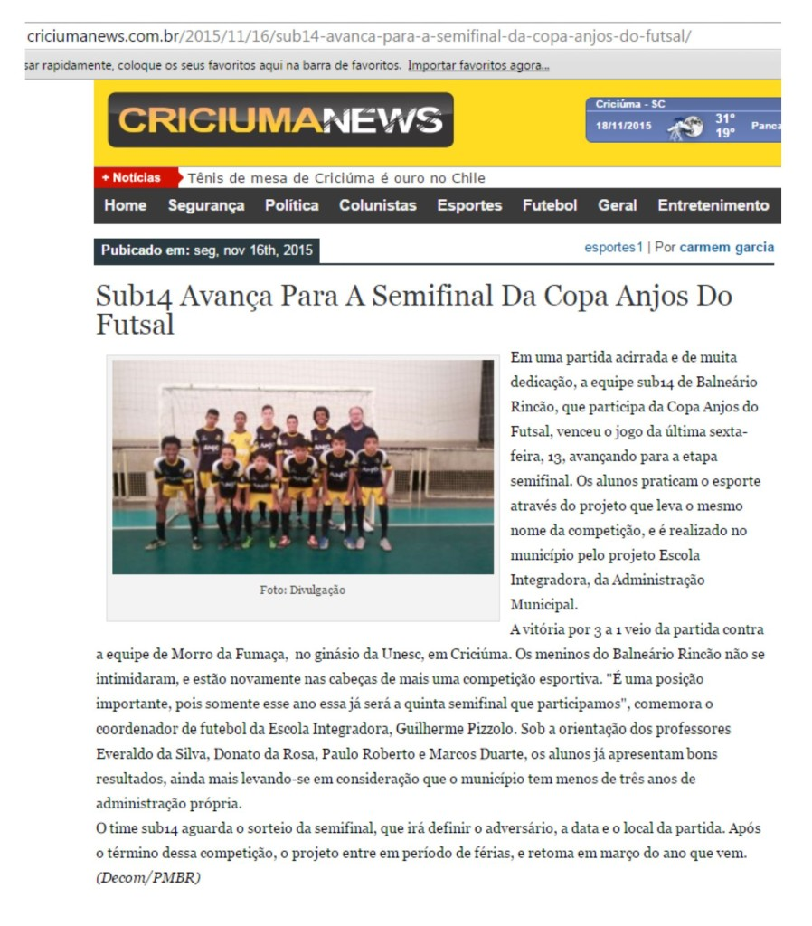 Anjos do Futsal no Portal Criciúma News - 16/11/2015