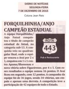Anjos do Futsal no Jornal Diário de Notícias - 07/12/2015