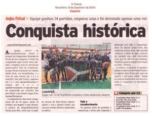 Anjos do Futsal no Jornal A Tribuna - 08/12/2015