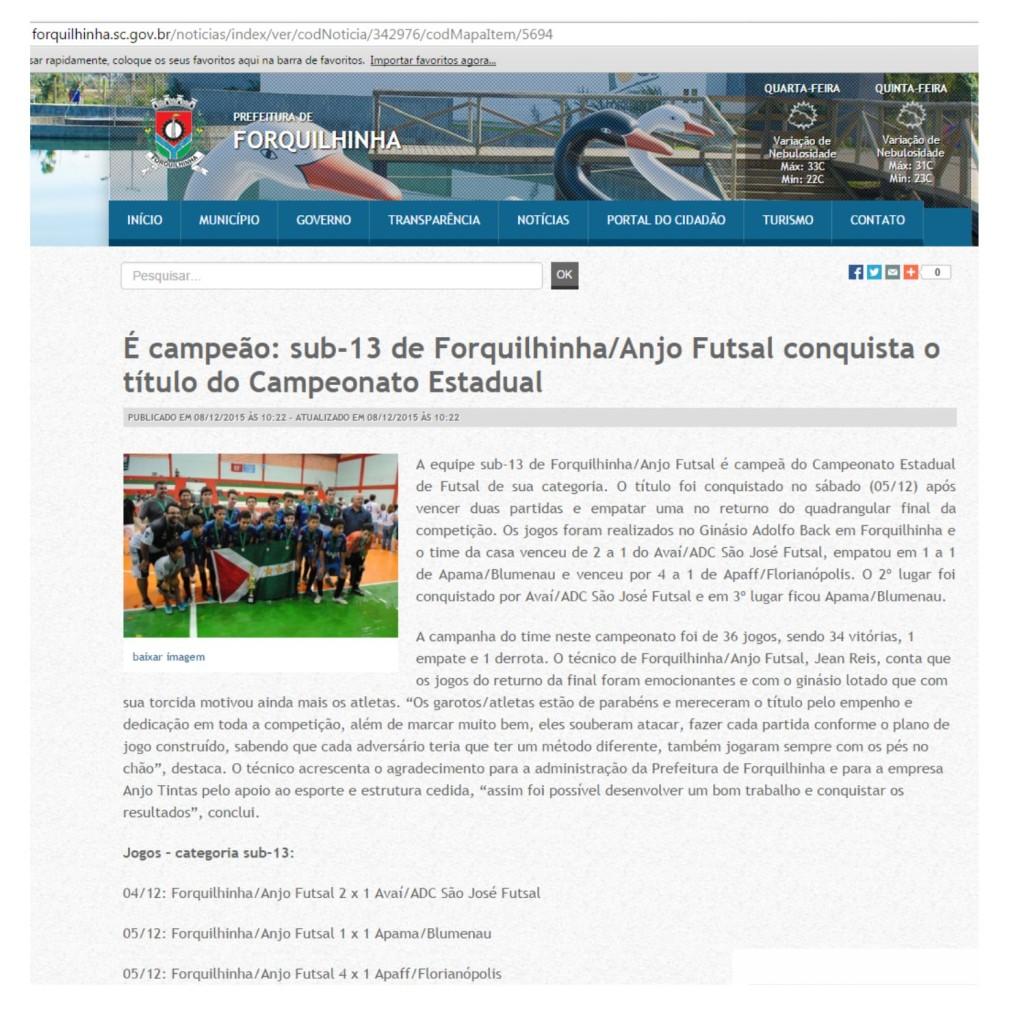 Anjos do Futsal no Portal Forquilhinha - 08/12/2015