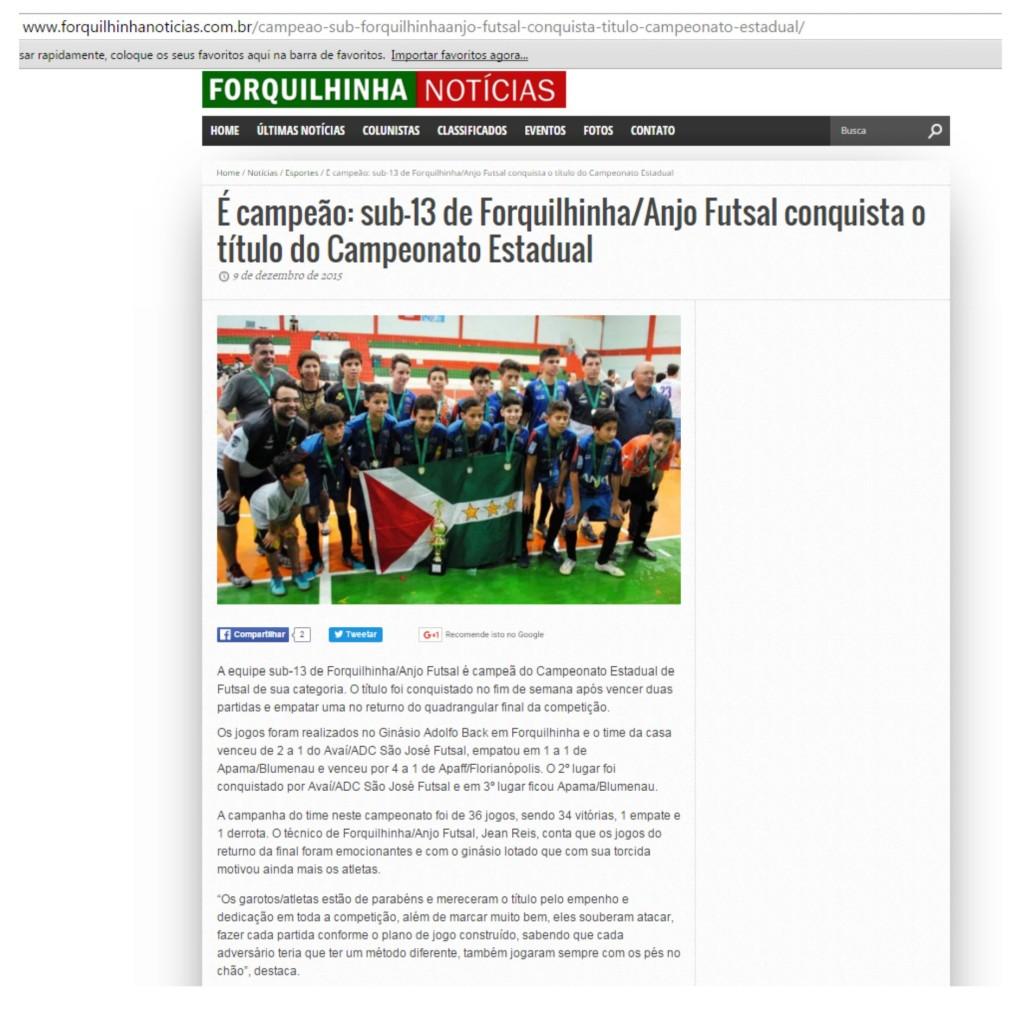 Anjos do Futsal no Portal Forquilhinha Notícias - 09/12/2015