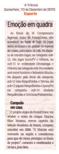 Anjos do Futsal no Jornal A Tribuna - 1012/2015