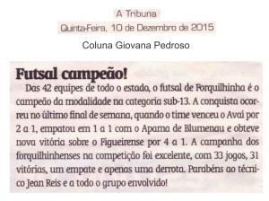 Anjos do Futsal no Jornal A Tribuna -10/12/2015