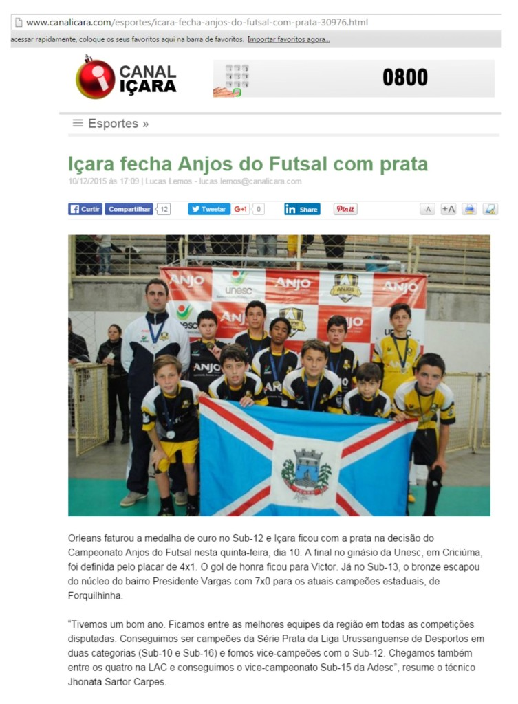 Anjos do Futsal no Canal Içara - 10/12/2015