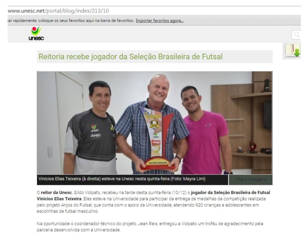 Anjos do Futsal no Blog da Unesc - 10/12/2015