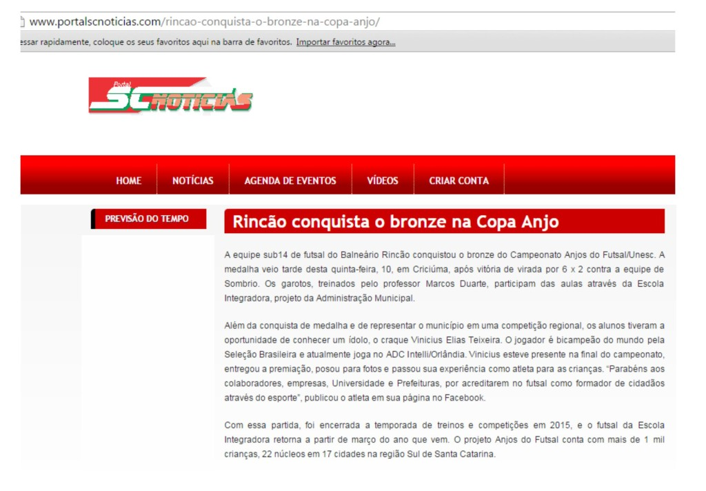 Anjos do Futsal no Portal SC Notícias- 1012/2015
