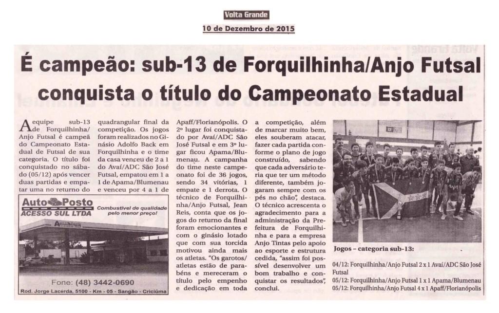 Anjos do Futsal no Jornal Volta Grande - 10/12/2015