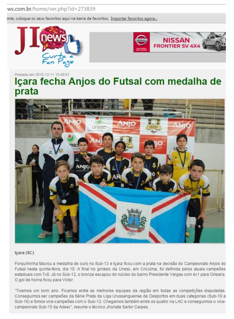Anjos do Futsal no Portal JI News - 11/12/2015