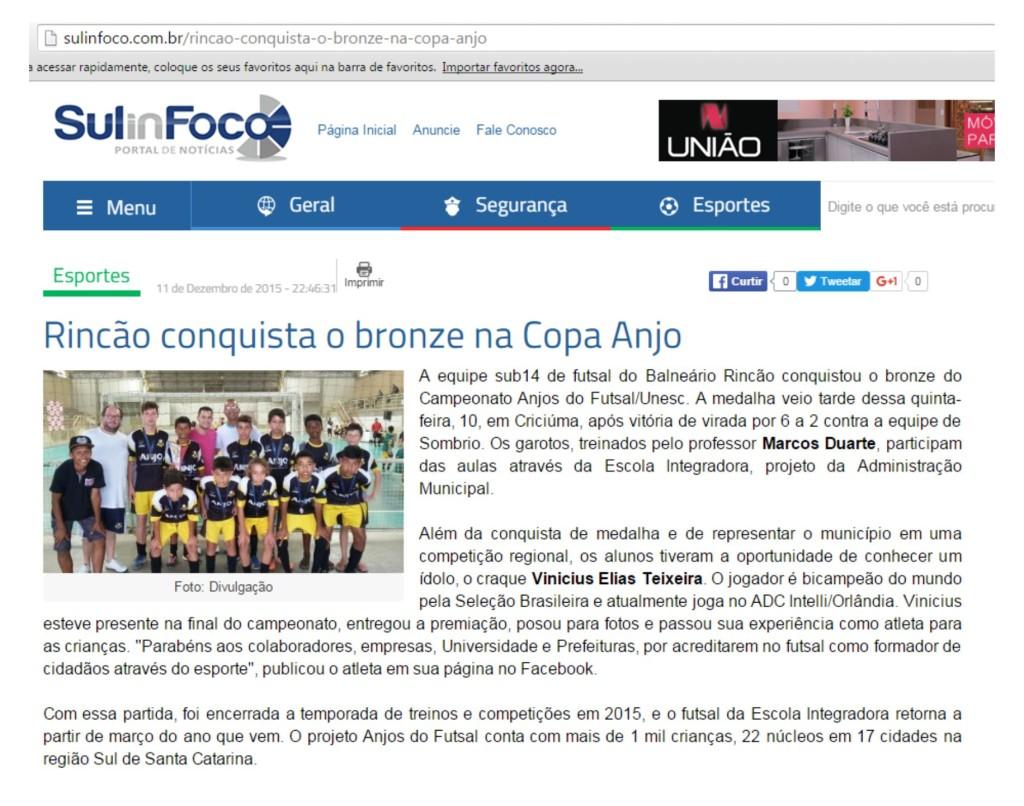 Anjos do Futsal no Portal Sul In Foco - 11/12/2015