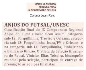 Anjos do Futsal no Jornal Diário de Notícias - 14/12/2015