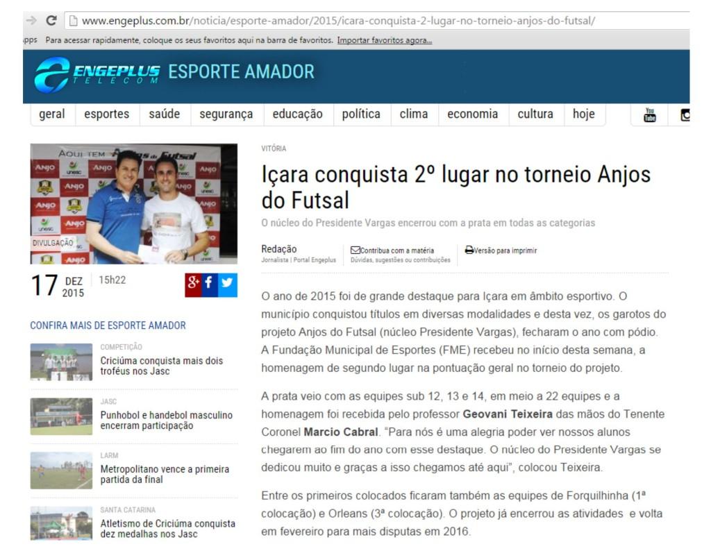 Anjos do Futsal no Portal Engeplus - 17/12/2015