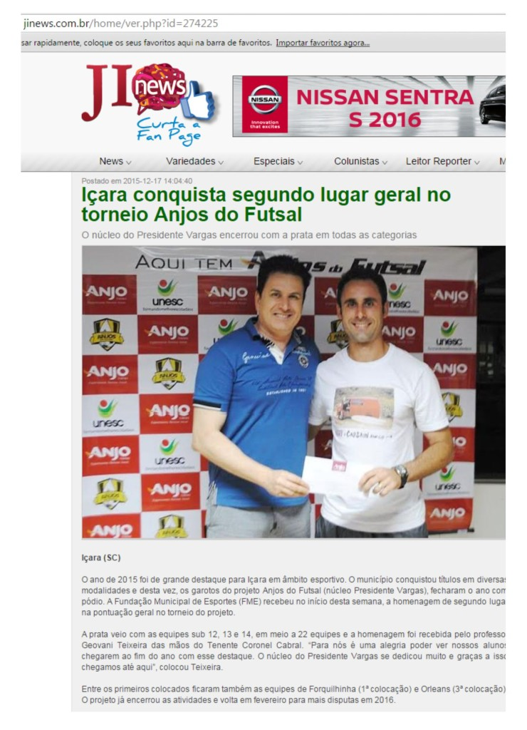 Anjos do Futsal no Portal JI News - 10/12/2015