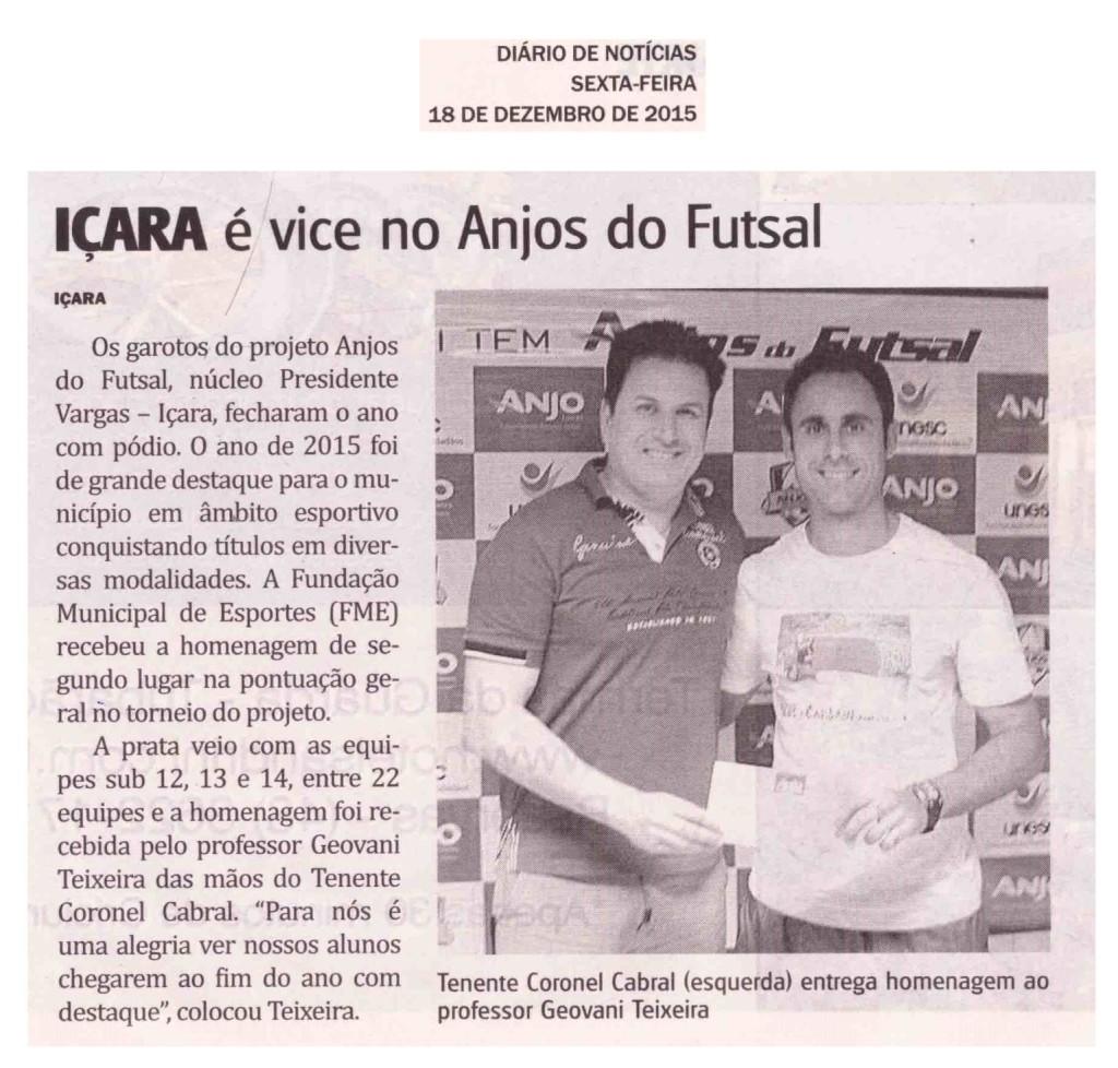 Anjos do Futsal no Jornal Diário de Notícias - 18/12/2015